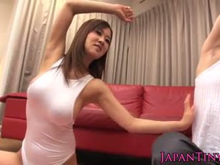 Tiny busty Japanese yoga babe tittyfucked and pounded