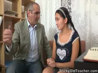 Tricky old perv teacher persuades Asian cutie to suck his cock