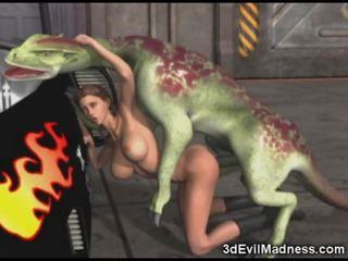 3d meisje impaled door buitenaards dragon