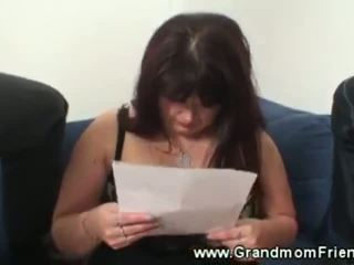 Two guys stick their dicks in mature womans