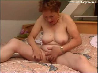 brunette, masturbating, old