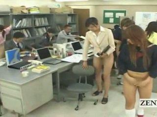 Subtitled نصف عار bottomless اليابانية مدرسة مكتب