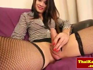 Ilgos kojinės azijietiškas tugging jos ladyboy varpa