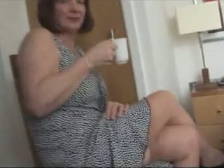 Big tits hairy mature in stockings strip