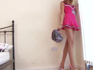 Vroče navijačica strips in touches sama v ji soba