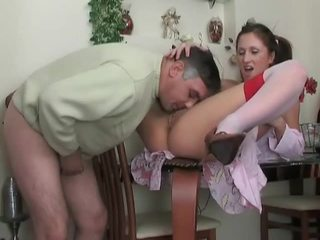 brunette, young, shaved pussy