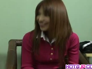 Ai Kurosawa in Uniform Rubs Hairy Pussy and gets Sucked