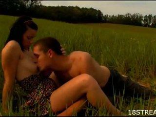 Busty brunette teen lustful outdoor hardcore sex