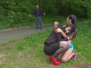 Lesbea Devious British Lesbian Licks and Fucks Innocent Asian Jogger