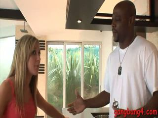 Naughty blonde babe Amy Brooke analyzed by huge black dicks