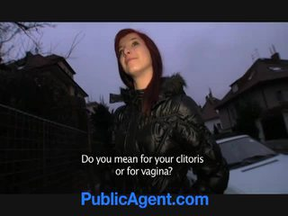 Czech redhead goes home with the public agent