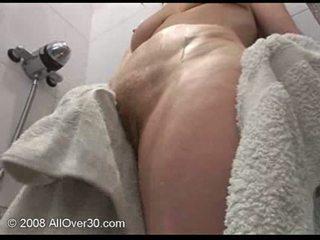 masturbating, granny, shower