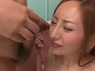Oriental babeh toying and blowing