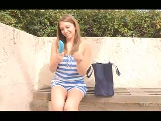 Adrianna mesum brunette with natural susu undressing and toying burungpun with blue dildo outdoors