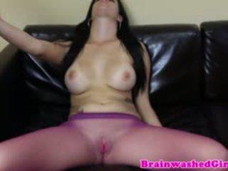 brunette, masturbation, nylon