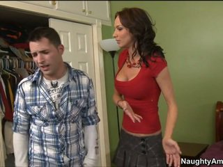 Catching her boyfriend's son sniffing her panties