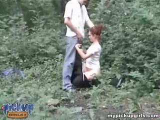 Guys roughly fuck a pee-peeing girlfriend in the wood Video