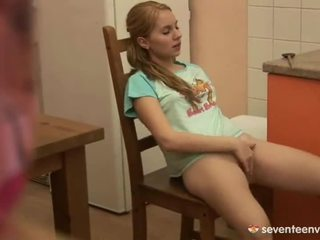 Horny Blonde Inside The Kitchen