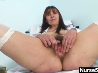Naughty Head Nurses: Mature mom karin shows off hairy pussy extreme .